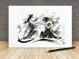samurai wall decor poster japanese sword warrior artwork zoom