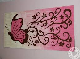 Mural Painting On Canvas by Captivating Big Butterfly Painting With Purple And Brown Color