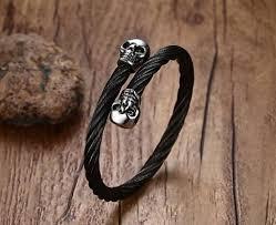 black skull bracelet images Men 39 s black skull bracelets rock punk stainless steel twisted jpg