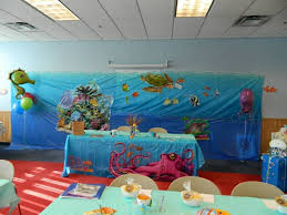 the sea baby shower ideas awesome looked in blue theme background and additional big octopus