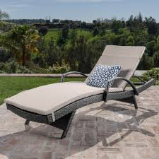 Solaris Designs Patio Furniture Solaris Outdoor Grey Wicker Armed Chaise Lounge W Water Resistant