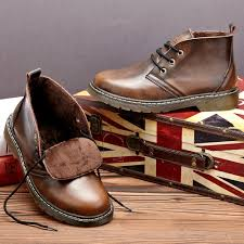 men genuine leather snow boots oxford formal dress shoes lace up