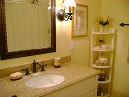 Wall Mounted Vanities For Small Bathrooms by Wood Corner Shelf For Small Bathroom Design With Cream Wall