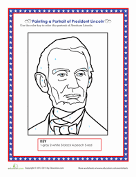 lincoln coloring pages lincoln portrait worksheet education com