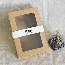 30 simple style kraft clear window christmas cake box cookie