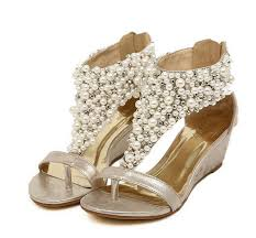 wedding shoes low wedges free shipping new rome shiny beaded wedge sandals low heeled