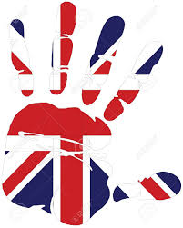 Great Britain Flag Hand Print Of Great Britain With The Flag Of Great Britain Royalty