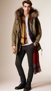 burberry cotton parka with fur lined hood and warmer in green for