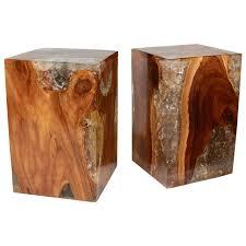 teak wood side table pair of modern organic teak wood and cracked resin side tables at