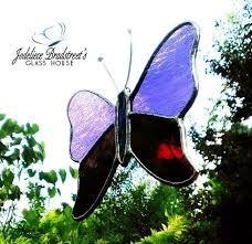 purple and plum butterfly stained glass suncatcher gift for