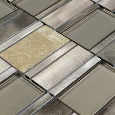 Stone Glass Mosaic Tile Stainless Steel Metal Wall Tiles - Glass and metal tile backsplash