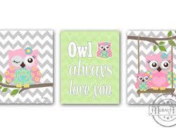 Owl Room Decor Owl Nursery Decor Owl Print Wall Art Set Of Three Girls Room