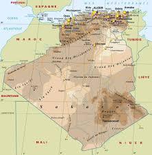 algeria physical map algeria map and algeria satellite images