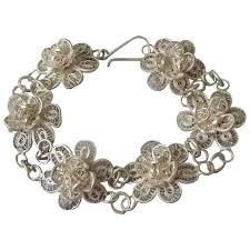 silver fine bracelet images Vintage mexico sterling silver fine filigree flower link bracelet jpg