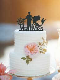 customized mermaid and captain wedding cake topper personlized