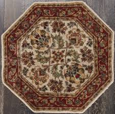 Abc Oriental Rugs Floral Ivory Hand Knotted Sino Persian Octagon Rug 3 U0027 X 3 U0027