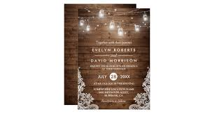 Mason Jar String Lights Rustic Wood Mason Jars String Lights Lace Wedding Card Zazzle Ca