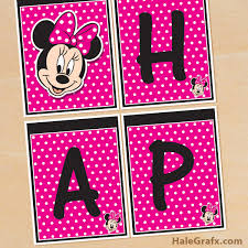 printable minnie mouse birthday banner