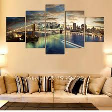 Home Decor New York by 5 Panel New York City Landscape Canvas Home Decor Wall Art