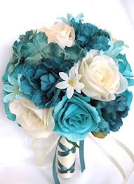 turquoise flowers wedding bouquets bridal silk flowers turquoise teal