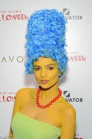 Marge Halloween Costume Hollywood Actress Emily Ratajkowski Dresses Marge Simpson