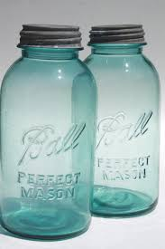 vintage canisters for kitchen vintage aqua blue glass jars big two quart