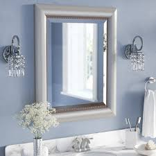 Willa Arlo Interiors Rectangle Curved Silver Bathroom Wall Mirror - Silver bathroom
