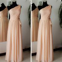 cheap bridesmaid dresses one shoulder peach free shipping