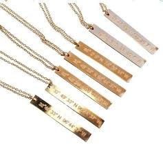 photo engraved necklace vertical bar custom coordinate gold bar engraved necklace