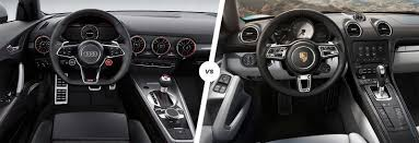 porsche boxster 2016 interior audi tt rs vs porsche 718 cayman s comparison carwow