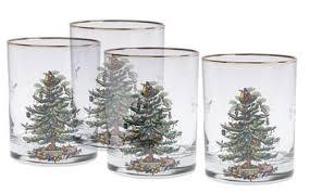 set of 4 spode tree fashioned glasses 22k gold