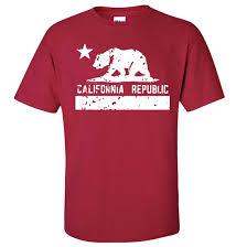 Cardinal Flag California Flag White Print Silhouette Asst Colors T Shirt Tee