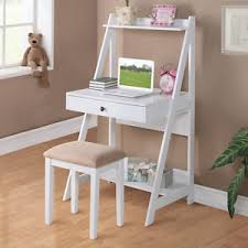Small Writing Desks 2 Pc White Student Small Writing Desk And Stool W Large Drawer