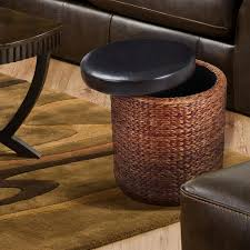 joveco bulrush weave storage ottoman with faux leather lid jft56