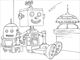 13 coloring pages of robot print color craft
