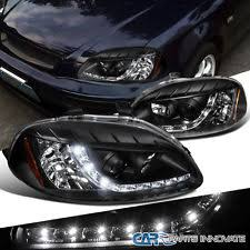 honda civic headlight for 1996 1998 civic ek ex lx r8 style led drl halo projector