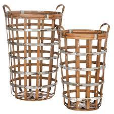 wilco home decor shop wilco deep round bamboo baskets 2 baskets per set