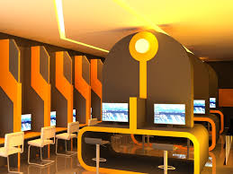design cyber cafe furniture qswitch tron styling cyber cafe with orange lighting by qswitch