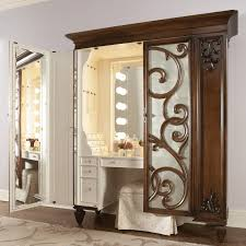 Jewelry And Makeup Vanity Table Compact Brown And White Wooden Vanity Table With Ornate Carving Of