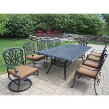 Cast Aluminum Patio Table And Chairs Oakland Living Hton Aluminum 11 Rectangular Patio Dining