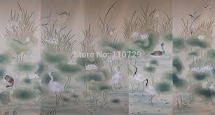 aliexpress com buy hand painted silk wallpaper painting lotus