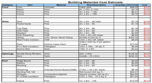 cost of a building building materials cost estimate sheet