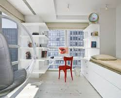 One Bedroom Apartments Design Small New York Studio Apartment White Style With Red Chair And