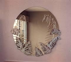 Etched Bathroom Mirror Decorative Mirror Bathroom Mirror Tropical Peak Decorative
