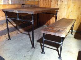 custom made industrial cast iron pipe douglas fir dining table by