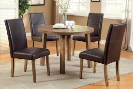 Light Oak Dining Room Chairs 5 Pc Light Oak Wood Dining Set Round Table Parson Chairs Brown Leather