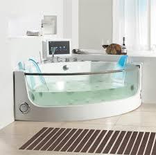 black acrylic standing tub on white ceramic tiled flooring most