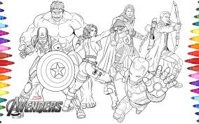 avengers coloring pages cartoon squad superhero kids online pdf