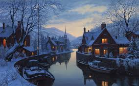 Winter Houses Old Inn By The River Eugeny Lushpin Painting Lushpin Winter Snow