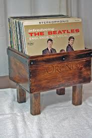 Record Player Cabinet Plans by Kate U0027s Repurposed One Of A Kind Wine Crate 50 Album Holder
